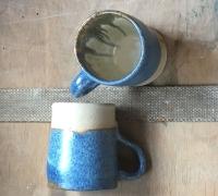 Mottled blue mugs